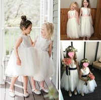 Real Image Jewel Tulle and Satin Flower Girl Dresses With Sa...