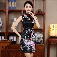Verão Mini Cheongsam Tradicional Chinesa Sarja Mulheres Estilo Rayon Vestido Elegante Slim Qipao Novidade Vestidos Designer Roupas