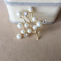 새로운 패션 지점 모조 진주 럭셔리 라인 석 대기 브로치 여성 선물 보석 꽃 브로치 눈물 브로치 핀 T349
