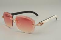 십구년 새로운 천연 혼합 혼 / 검은 꽃 뿔 선글라스, 8300715, 개인 다이아몬드 새겨진 렌즈 선글라스, 크기 : 58-18-140mm