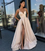 Sweetheart Spaghetti Straps Evening Gowns A- line Long Satin ...