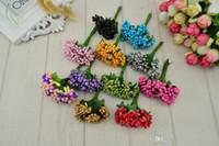 12 pcs estame artesanais açúcar flores artificiais decoração de casamento caixa de presente DIY coroa de flores bordado baratos scrapbooking navio livre falsificação flor