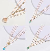 11 Style Fashion Natürliche Süßwasser Perlenkette Vergoldet Mehrschichtige Muschel Perlen Anhänger Halskette Frauen Edlen Schmuck