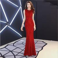 Vestidos de noite vermelhos, nobre saia longa sexy para o novo banquete em 2019, vestidos de saudação fatal, famosa anfitrião de temperamento, promoção de baixo preço