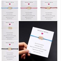 Faça um desejo de papel cartão artesanal tecido ajustável pulseiras abacaxi charme corda pulseira jóias mulheres meninas presente