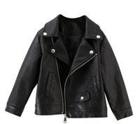 2019 Sonbahar kış Yeni stil kız lokomotif deri ceket yaka Kısa paragraf ceket moda çocuk giyim