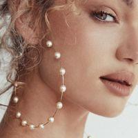 패션 여성 가짜 진주 구슬 매력 큰 후프 귀걸이 성명 쥬얼리 선물