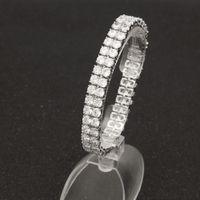 Hip Hop Bling 2 Row CZ Tennis Bracelet Cubic Zirconia Cobre Jóias Mulheres do casamento do ouro de presente de pedra de prata