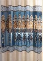 синий домашний отель занавес плотный занавес утолщенный льняной шов полые вышивальные шторы гостиная спальня готовая занавеска