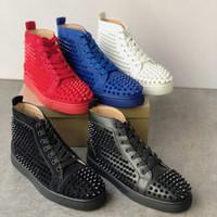 남성과 여성 신발 파티 웨딩 크리스탈 가죽 트레이너를위한 새로운 2019 남성 스니커즈 붉은 바닥 신발 높은 스웨이드 스파이크 신발