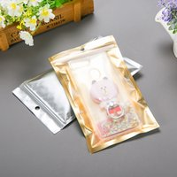 100pcs aluminum foil clear and gold package zip lock bags re...