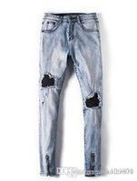 Wholesale-Fashion Mens Gerade Slim Fit Biker Jeans Hosen Distressed Skinny Ripped Destroyed Denim Jeans Gewaschene Hiphop-Hose