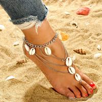 여자를위한 세련된 패션 쉘 턱받이 Anklets 다층 발가락 비치 실버 도금 발목 팔찌 발 쥬얼리 액세서리 도매