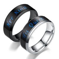 Température anneau son roi sa reine bague en acier inoxydable couple bagues bague de fiançailles bague de mariage designer bagues