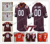Virginia Tech Hokies Personalizado Personalizado Qualquer Nome Qualquer Número Branco Vermelho Costurado NCAA College Football Jerseys # 5 Tyrod Taylor 7 Michael Vick