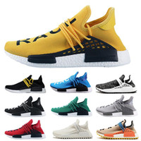 2019 NMD razza umana Mens scarpe da corsa con sicurezza Pharrell Williams campione Giallo nucleo nero Sport Designer Shoes Donne Sneakers 36-45