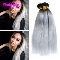 Malaisien 100% Cheveux Humains 3 Pièces / lot Silky Straight Straight 1B Gris Produits pour les Cheveux Vierges Double Trames 3 Bundles Straight 1B / gris