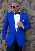 New Fashionable One Button Azul Royal Do Noivo Do Casamento Do Noivo Smoking Lapela Groomsmen Homens Ternos Blazer Prom (Jacket + Pants + Tie) 055