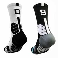 Profesional libre de la función de proximidad 0-9 número de calcetines gruesos de baloncesto se divierte los calcetines antideslizante durable de toallas de fútbol monopatín inferior Calcetines de Futbol