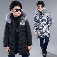 Kinderjacke Winter New Long Section Verdickung Mädchen Warm Down Cotton Padded Boy Camouflage Kapuzen-Baumwollmantel