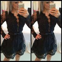 Czarowne Długie Rękawy Koktajl Sheer Neck Prom Dresses Mini Spódnica Krótkie Suknie Homcoming Czarny Zroszony Custom Size Prom Suknie