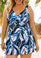 VGTOWN 2019 새로운 인쇄 두 조각 수영복 여성 섹시한 플러스 사이즈 5XL 수영복 비치웨어 탱 키니 대형 크기 수영복 Swimwea