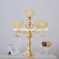 5 оружие металл и подсвечники Кристалл канделябры с подвесными хрустальными каплями для свадьбы, центральные, настольный украшения decor381