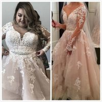 Crystals Lace 2019 Arabic Plus Size Wedding Dresses V- neck L...