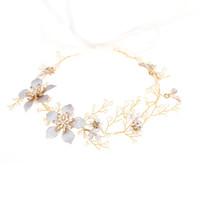 Magazzino statunitense New Flower Flower Flower Pearl Bride Headress stile etnico a mano tessuto matrimonio fascia di nozze accessori per capelli gioielli regalo