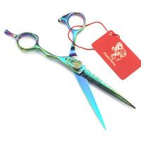 6.0 pollici di personalità del modello verde di parrucchiere forbici piane taglio LDLH Giappone 440C forbici strumenti di cura dei capelli