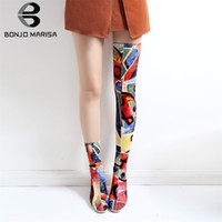 BONJOMARISA Print Graffi Over The Knee Boots Ladies Sexy Stretch Thigh High Boots Women 2019 Autumn High Heels Shoes Woman