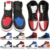 Jumpman 1 أحذية كرة السلة الألعاب الرياضية حذاء رياضة حذاء الجري للنساء الرياضة الشعلة هير لعبة المحكمة الصنوبر الخضراء الملكي مع صندوق Size36-47