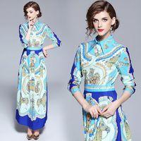 Sommer-Herbst-Amerika Kleidung Europa Female Fashion Langes Kleid Drucken Mittelalter-Muster-Kleid Art und Weise Frauen Vestidos