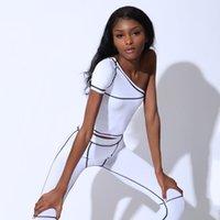 Mujeres de la manera juegos del juego de Yoga Deportes hombro de las mujeres de Sportwear Dos piezas tapas delgadas + pantalones de diseñador Establece Ourdoorwear caliente de la venta