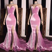 2020 Velvet rosa Cheap formal Vestidos Querida Dividir Side Prom vestidos sem costas vestido de festa BC1231