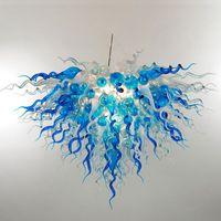 Blue Shade Murano Lâmpadas Pendurado Candelabros Iluminação Luzes Sala de Jantar Luzes Decoração de Casa Esplhido De Vidro Candelabro De Cristal