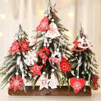 Albero di natale ornamento rosso bianco 12pcs / lot di legno ciondoli appesi angelo di neve campana alce stella decorazioni natalizie per la casa CFYZ324Q