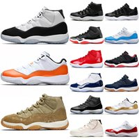 Nike Air Jordan Retro 11s Basketballschuhe 11 Männer Frauen Concord 45 Orange Trance Cap und Kleid Olive Lux Platinfarbton UNC Gym Red Trainer Sports Sneakers