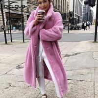 긴 테디 베어 자켓 코트 여성 겨울 두꺼운 따뜻한 대형 오버 코트 여성 가짜 랑 스위스 모피 코트 Chunky 겉옷