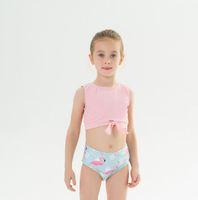 Summer Girls Two-Pieces Maillots de bain Enfants Bows Débardeurs + Flamingos imprimés High Taille Shorts 2pcs Sets Fille Sport Suit Support A3125