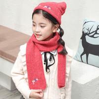 Детские вязаные шапки шарф наборы Детские теплые зимние вязания шапочки Cap Мода Мягкая Pompon Шаровые Шляпы Открытый лыжную шапочку