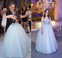 Baby Blue Ball Gown Quinceanera Dresses See Through Major Be...