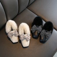 Retail kids designer Bow snow boots Korean girls winter Luxu...