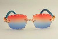 20 grabados caliente T-8300177D de lentes de gafas de sol en forma de X, con estilo diamante grande sombrilla decorativa, azul puro madera sungla templo pierna naturales