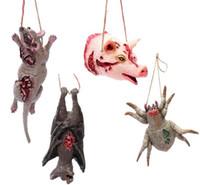 Счастливый Хэллоуин Поддельные Кровавый Свинья Голова Животного Форма Летучая мышь Крыса Паук Ожерелье Страшные Реквизит Дом-Призрак Висячие Украшения Праздничная поставка