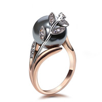 Anillo de color de moda de oro rosa grande gris perla de las mujeres de la hoja de joyería de moda anillos dropshipping Anel Anéis bagues femme joyas de declaración
