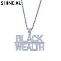 الهيب هوب أزياء مطلية بالذهب 2 صفوف إلكتروني الثروة الأسود قلادة قلادة الرجال بلينغ مجوهرات هدية