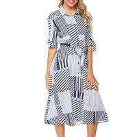 유행 새로운 봄 2020 옷깃 벨트 미디 스커트 여성 패션 섹시한 옷 깃 기하학적 슬림 셔츠 벨트 긴 소매 드레스
