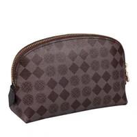 شحن مجاني أعلى جودة قماش المؤكسدة الجلود التجميل الحقيبة الشهيرة ماركة مصمم زيبي الزينة حقيبة ماكياج حالة 47515 47353