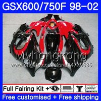 Corpo per SUZUKI GSXF 750 600 rosso lucido nero GSXF750 1998 1999 2000 2001 2002 292HM.44 GSX 600F 750F KATANA GSXF600 98 99 00 01 02 Carenatura